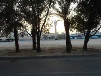 """The sun setting behind the mosque, the trees are getting ready to sleep."" Warsini.1"