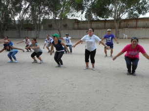 """""""We do this once a week when we go on our day off. We do it for fun and exercise, it is like Zumba. We do it to stay healthy and fit. It's nice to get together and do something as a whole group and community."""" Jeffe.1"""